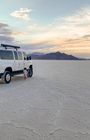 Baymax the Van at Bonneville Salt Flats